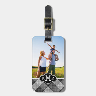 Custom Photo & Monogram Geometric checked texture Luggage Tag