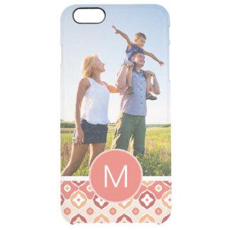 Custom Photo & Monogram Golden Ikat Pattern Clear iPhone 6 Plus Case