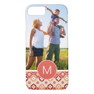 Custom Photo & Monogram Golden Ikat Pattern iPhone 8/7 Case