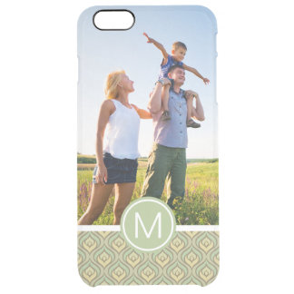 Custom Photo & Monogram green and yellow pattern Clear iPhone 6 Plus Case