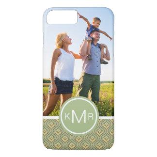 Custom Photo & Monogram green and yellow pattern iPhone 8 Plus/7 Plus Case