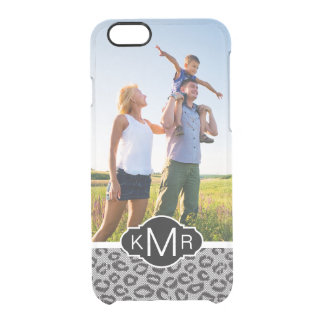 Custom Photo & Monogram lace with leopard pattern Clear iPhone 6/6S Case