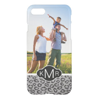 Custom Photo & Monogram lace with leopard pattern iPhone 8/7 Case