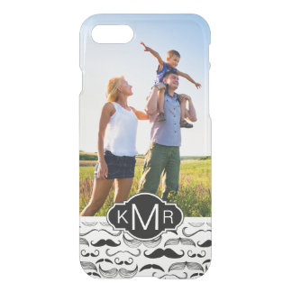 Custom Photo & Monogram Mustache pattern 2 iPhone 8/7 Case