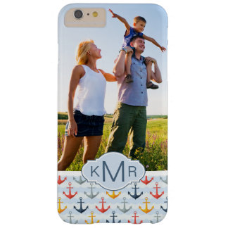 Custom Photo & Monogram Nautical Anchor Pattern Barely There iPhone 6 Plus Case