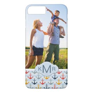 Custom Photo & Monogram Nautical Anchor Pattern iPhone 8 Plus/7 Plus Case