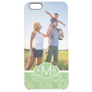 Custom Photo & Monogram Outline seashells Clear iPhone 6 Plus Case