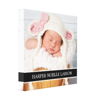 Custom Photo & Monogram Personalized Canvas Art Gallery Wrap Canvas