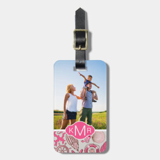 Custom Photo & Monogram Pink Sea Pattern Luggage Tag