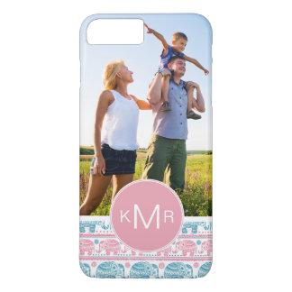 Custom Photo & Monogram Pink & Teal Elephants iPhone 8 Plus/7 Plus Case