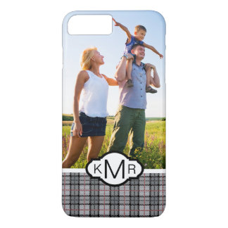 Custom Photo & Monogram Pixel Plaid in Grey & Red iPhone 8 Plus/7 Plus Case