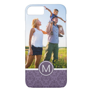 Custom Photo & Monogram Purple floral wallpaper 2 iPhone 8/7 Case