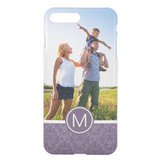 Custom Photo & Monogram Purple floral wallpaper 2 iPhone 8 Plus/7 Plus Case