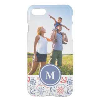 Custom Photo & Monogram Red and Navy with Anchor iPhone 8/7 Case