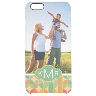 Custom Photo & Monogram Retro abstract pattern Clear iPhone 6 Plus Case
