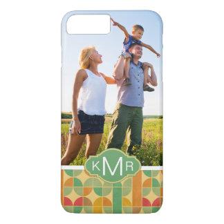 Custom Photo & Monogram Retro abstract pattern iPhone 8 Plus/7 Plus Case
