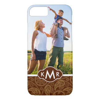 Custom Photo & Monogram Retro mandala pattern iPhone 8/7 Case