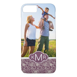 Custom Photo & Monogram Retro pattern iPhone 8/7 Case