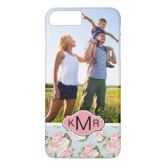 Custom Photo & Monogram roses with blue polka dots iPhone 8 Plus/7 Plus Case