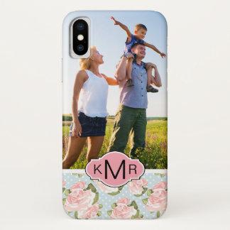 Custom Photo & Monogram roses with blue polka dots iPhone X Case