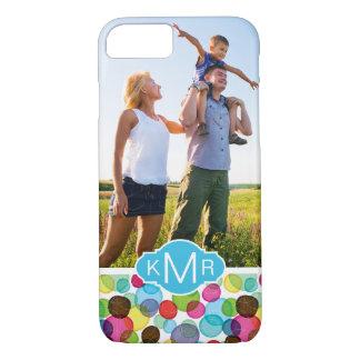 Custom Photo & Monogram Round bubbles pattern 2 iPhone 8/7 Case