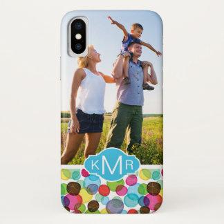 Custom Photo & Monogram Round bubbles pattern 2 iPhone X Case