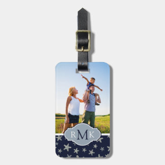 Custom Photo & Monogram Sea Of Starfish Pattern Luggage Tag