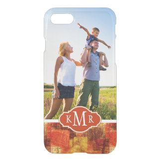 Custom Photo & Monogram Squares on grunge wall iPhone 8/7 Case