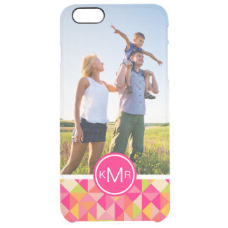 Custom Photo & Monogram Triangles pattern Clear iPhone 6 Plus Case