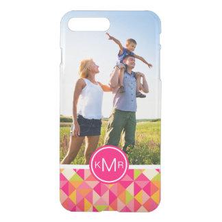 Custom Photo & Monogram Triangles pattern iPhone 8 Plus/7 Plus Case