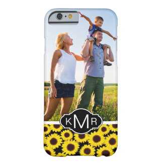 Custom Photo & Monogram with sunflowers Barely There iPhone 6 Case