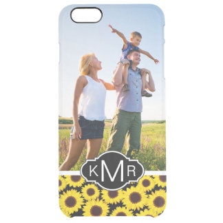 Custom Photo & Monogram with sunflowers Clear iPhone 6 Plus Case