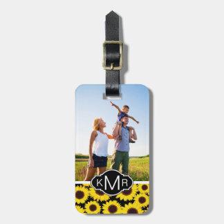Custom Photo & Monogram with sunflowers Luggage Tag