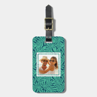 Custom Photo Monstera Tropical Leaf Pattern Luggage Tag