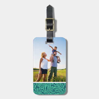 Custom Photo Monstera Tropical Leaf Pattern Luggage Tag