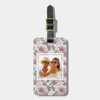 Custom Photo Muted Pink Hibiscus Flowers Pattern Luggage Tag