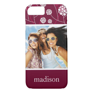 Custom Photo & Name Abstract floral pattern iPhone 8/7 Case