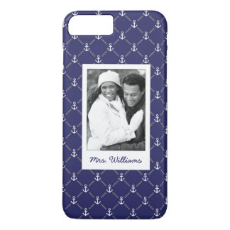 Custom Photo & Name Anchor pattern iPhone 8 Plus/7 Plus Case