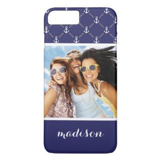 Custom Photo & Name Anchor pattern iPhone 8 Plus/7 Plus Case