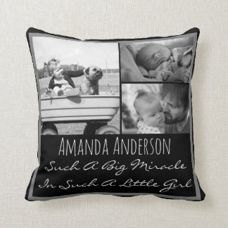 Custom photo name and quote throw pillow