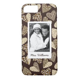 Custom Photo & Name Animal skin with hearts iPhone 8/7 Case
