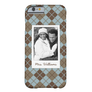 Custom Photo & Name Argyle Pattern in Blue & Taupe Barely There iPhone 6 Case