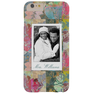 Custom Photo & Name Art floral grunge pattern Barely There iPhone 6 Plus Case