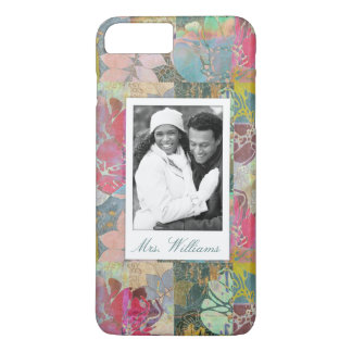 Custom Photo & Name Art floral grunge pattern iPhone 8 Plus/7 Plus Case