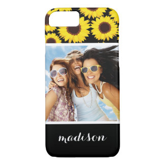 Custom Photo & Name Background with sunflowers iPhone 8/7 Case
