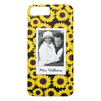 Custom Photo & Name Background with sunflowers iPhone 8 Plus/7 Plus Case