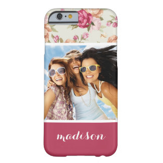 Custom Photo & Name Beautiful Peony Pattern Barely There iPhone 6 Case