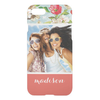 Custom Photo & Name beige and red flowers pattern iPhone 8/7 Case
