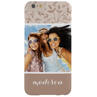 Custom Photo & Name Beige pattern Barely There iPhone 6 Plus Case