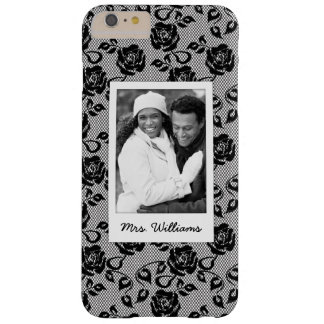 Custom Photo & Name Black lace pattern Barely There iPhone 6 Plus Case